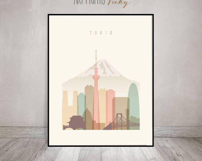 Tokyo art print, Poster, Wall art, Tokyo skyline, Japan cityscape, City poster, Travel decor, Home Decor, Digital Print, ArtPrintsVicky