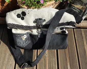 Canvas bag with black jeans, lace and crochet flowers