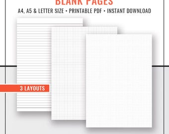 Blank Pages, Dot Grid Paper, Grid Paper, Lined Paper, Notebook, Planner Inserts, Planner Refills, A4, Letter Size, Filofax A5, Printable PDF
