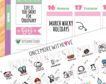 Wacky Holidays - March 2018 Planner Stickers (2018 - W03)