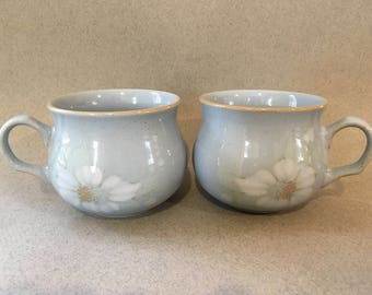 Vintage Denby Stoneware Cups- Blue Dawn Set of 2 1980's