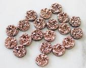 set of 20, faux druzy cabochon, metallic rose gold, resin cabochon, round cabochon, 12mm × 12mm, 12mm cabochon, metallic druzy