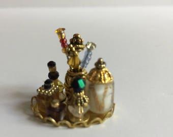 Miniature Dollhouse Perfume Vanity Set with Hatpins