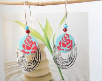 Earrings red turquoise sequin print