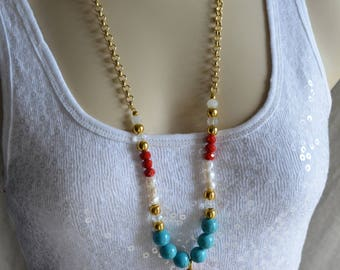 Long Multicolor Gold tone Turquoise Stone Beads Red Agate Freshwater Pearls & Czech Crystal Tassel Necklace