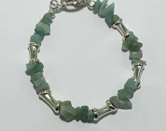 Handmade Men's Genuine Amazonite Gemstone Bracelet Jewelry Genuine Amazonite Bracelet Beaded bracelet Amazonite and silver bracelet Jewelry