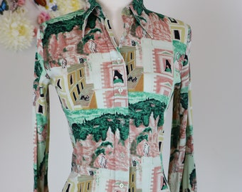 1960s 70s Novelty Print Shirt - S/M - Long Sleeve Graphic Print Cityscape Top - Long Sleeve - Peaked Collar - Retro Hipster - Green Beige