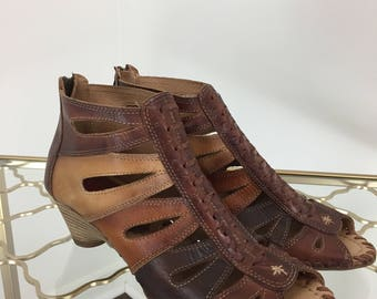 1990s Sandals -  Multicoloured Laser Cut Heeled Sandals - Vintage Peep Toe Leather Wood Sandals - Pikolinos  - 39 EU - 8.5-9 US