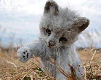 SOLD Gray kitten Linda - handmade stuffed realistic animal