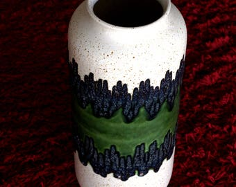 Bay Keramik West German Fat Lava Vase - Vintage Retro Zigzag Green Speckled 70 - 40 Large Floor Vase - Made in West Germany