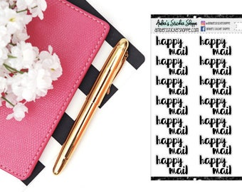 Cursive Lettering Happy Mail Headers Labels Planner Stickers [CL1006]