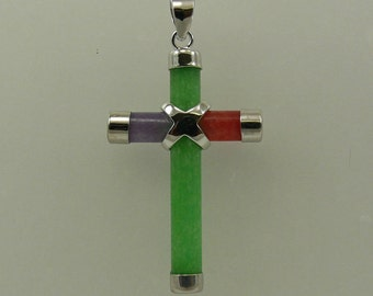 Jade Multi-Color Cross Pendant with Sterling Silver
