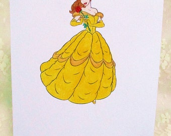 Princess Belle Card: Add a Greeting or Leave Blank