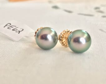 Cultured Tahitian Pearl Stud Earrings, 14k Yellow Gold (PE62)