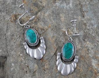 Sterling earrings, turquoise earrings, screw back earrings