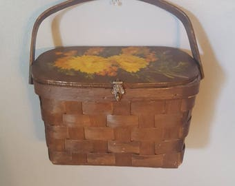 1970s Basket Purse - Basket Handbag with Flowers