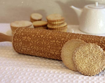 Beautiful LACE Embossed Rolling Pin Christmas Gift, FLORAL Embossing Laser Engraved Rolling Pin, Gift for Mother, Gift for Her, Big