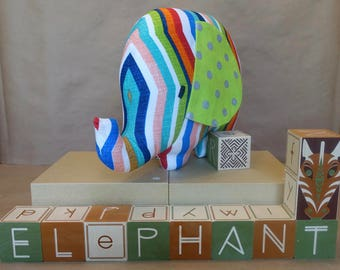 Stuffed Elephant Toy in Multi-Color Stripes