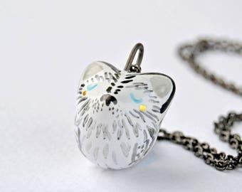 Miniature Husky Necklace, Tiny Dog Jewelry, Miniature Ceramic Dog, Unique Dog Person Gift, Dog Necklace, Siberian Husky