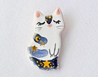 Cute Cat Brooch - made to order, Ceramic Cat Pin, Cat Jewelry, Celestial Cat Pin, Tiny Ceramic Animal, Tiny Art, Moon Phases