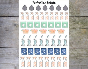 Cleaning Icons // Variety of Hand Drawn Cleaning and House Work Stickers Perfect for Planning // HD16