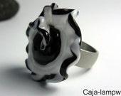 Wechsel Aufsatz, Wechsel-Top, Ring Top, schwarz-weiß,  ca. 35 mm