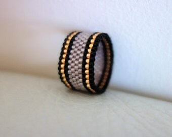 Stripes seed bead ring,  Dusty Rose ring, Peyote ring, 8 3/4 US beaded ring, Beadwoven ring, Delica ring, Modern wide band, Beaded jewelry