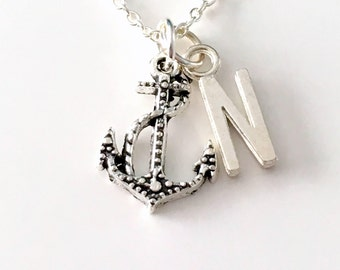 Anchor Necklace with Initial, Gift for Naval Officer Marine Jewelry, Silver Hook with Rope Charm Sailor Letter Women Men him her Sterling