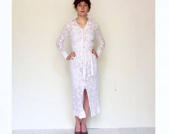 1970s Beautiful Maxi length hand made white cotton crochet summer dress