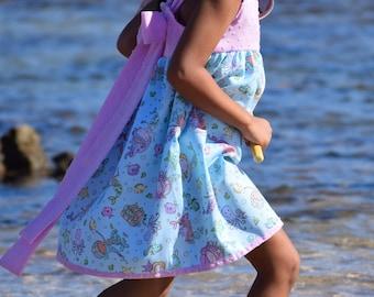 Bow Back, Glitter Mermaid print dress Made on Kauai. Hawaii