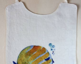 Pure linen bib. Bib. Digital watercolor