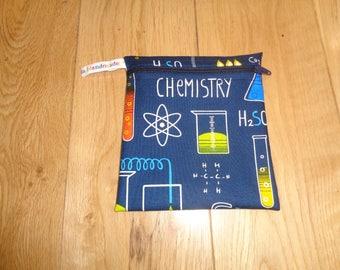Snack Bag - Bikini Bag - Lunch Bag - Make Up Bag Small Poppins Waterproof Lined Zip Pouch - Sandwich bag  Eco - Science Geek Blue Chemistry