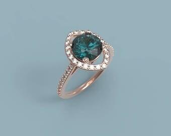 Rose Gold Alexandrite Engagement Ring Alexandrite Ring Rose Gold Alexandrite Diamond Ring Alexandrite Ring  Halo
