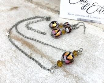 Parure avec véritables perles de Murano - Rose, Noir et Doré