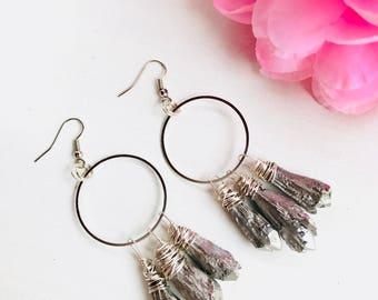Titanium Quartz earrings, natural stone earrings, silver quartz, Ring quartz earrings, quartz drop crystal, quartz, ring earrings, silver