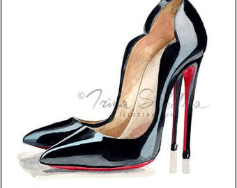Digital Download Christian Louboutin shoes, Christian Louboutin heels, fashion prints, fashion illustration print, printable wall art