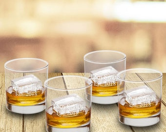 Personalized Lowball Whiskey Glasses (Set of 4) - Personalized Liquor Glasses - Groomsmen Gifts - Couple Gifts - Monogram Drinking Glasses