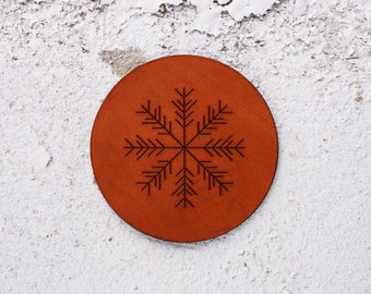 Christmas table ideas, Christmas gifts for parents ideas, Christmas table decor Xmas gifts Leather coasters Snowflakes Christmas decorations