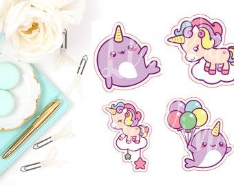 Kawaii Narwhal & Unicorn Die Cut Characters