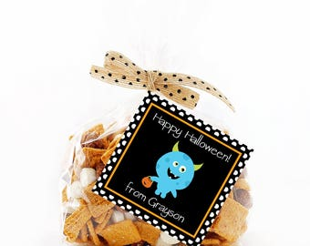 Halloween Treat Tags, Lil Monster Tags, Printable Personalized Halloween Tags, Halloween Gift Tags, Treat Tags, Trick or Treat Tags