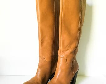 Leather knee high boots size 7.5 M - Women's caramel brown leather riding boots - Lucky Brand knee high boots - Leather boots 7.5M