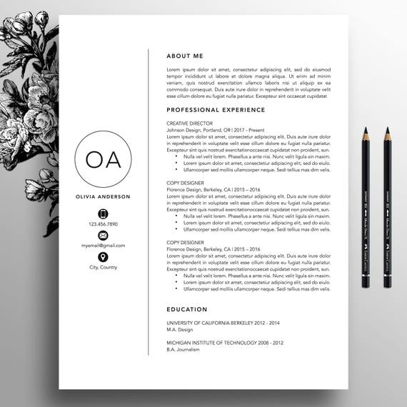 Professional Resume Template / CV Template Cover Letter For