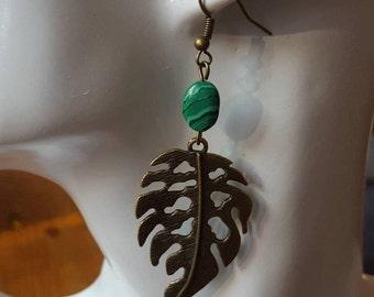 Earrings Natural stone malachite Bronze leaf