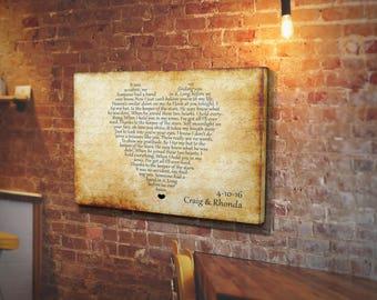 Wedding Song Lyrics Heart, First Dance Song, Wedding Song On Canvas, Heart Lyrics, First Anniversary Gift