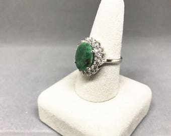 Sterling Silve Natural Emerald (7.60 ct) Ring with White Topaz Stones on the Claw, Appraised 850 CAD