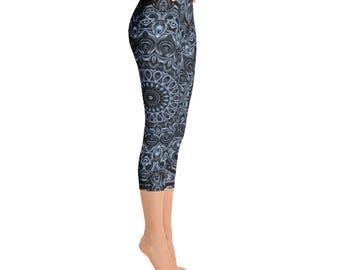 Capris - Dark Blue Printed Leggings, Hooping Leggings, Yoga Pants, Festival Clothing
