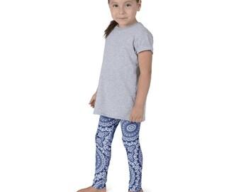 Indigo Leggings for Girls, Blue and White Kids Yoga Leggings, Children's Printed Leggings