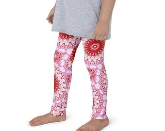 Leggings Girls Red and Pink Yoga Pants, Kids Leggings, Red Mandala Art Leggings for Children
