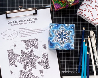 Coloring Christmas Gift Box Templates (6 Pack) | Printable PDF templates to make your own gift box  - personalized Christmas gift idea