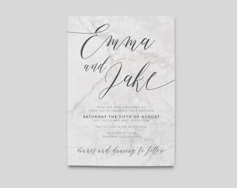 Printable Wedding Invitation | Wedding Invitations | Marble Wedding Invitation | Digital Wedding Stationery | Marble Wedding